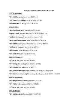 2014 - 2015 Güz Dönemi Bütünleme Sınavları