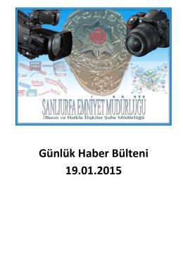 Günlük Haber Bülteni 19.01.2015