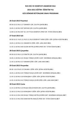 RUS DİLİ VE EDEBİYATI ANABİLİM DALI 2014