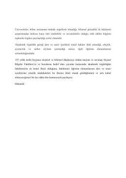 Kamuoyuna Duyurulur - Siyasal Bilgiler Fakültesi
