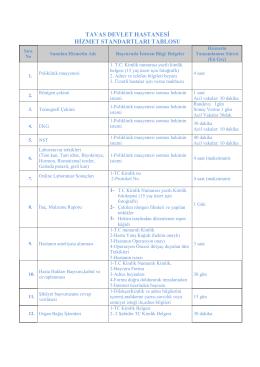 tavas devlet hastanesi hizmet standartları tablosu
