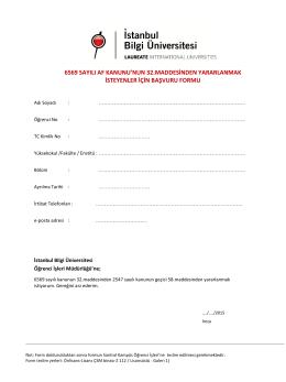 6353 Af Başvuru Formu - İstanbul Bilgi Üniversitesi