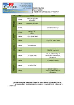 T.C. NİĞDE ÜNİVERSİTESİ İLETİŞİM FAKÜLTESİ 2014-2015