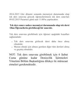 2014-2015 Güz Yarıyılı Tek Ders Sınavı Duyurusu