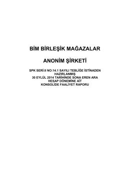 2014 3. Çeyrek Faaliyet Raporu