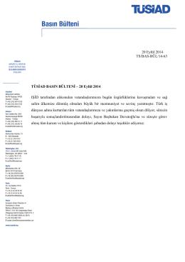 20 Eylül 2014 TS/BAS-BÜL/14-63 TÜSİAD BASIN BÜLTENİ – 20