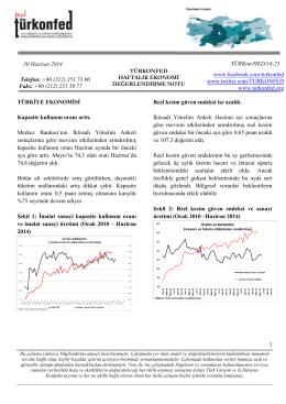 Haftalık Ekonomi Değerlendirme Raporu – 30.06.2014
