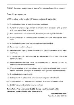 BM325 BILIMSEL ARA ¸STIRMA VE YAZIM TEKNIKLERI FINAL