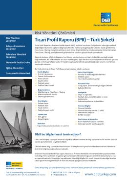 Ticari Profil Raporu (BPR) – Türk Şirketi