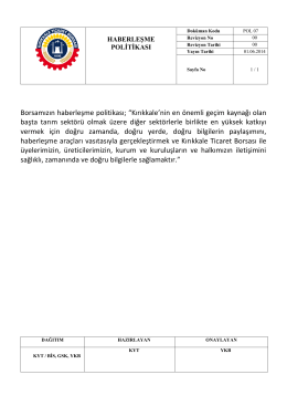 Haberleşme Politikası - Kırıkkale Ticaret Borsası