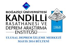 Mayıs - Kandilli Rasathanesi ve Deprem Araştırma Enstitüsü