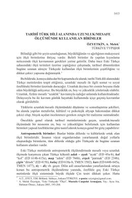tarihî türk dili alanında uzunluk/mesafe ölçümünde kullanılan