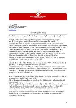 Cumhurbaşkanı Mesajı - KKTC Cumhurbaşkanlığı