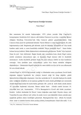 Hegel Sonrası Estetiğin Sorunları Nami Başer Ben sunumuma bir