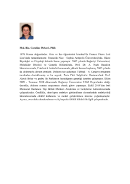Mol. Bio. Caroline Pirkevi, PhD. 1978 Fransa