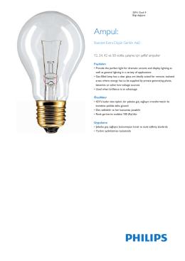 Product Familiy Leaflet: Standart Extra Düşük Gerilim A60