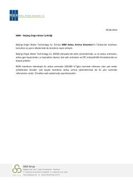 MBR ile Beijing Origin Water İş Birliği