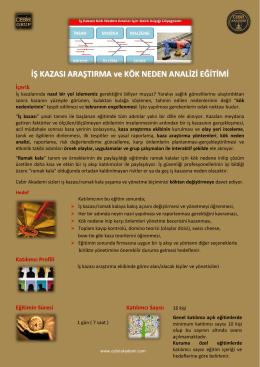 İŞ KAZASI ARAŞTIRMA ve KÖK NEDEN ANALİZİ