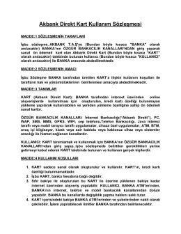 Akbank Direkt Kart Kullanım Sözleşmesi