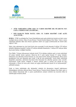 05.11.2014 Tüik Verilerine Göre Gıda ve Tarım Sektörü Dış