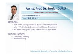 Assist. Prof. Dr. Serdar DURU