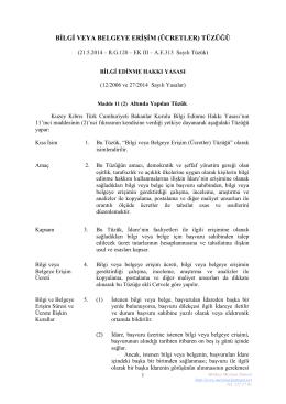 bilgi veya belgeye erişim (ücretler) tüzüğü