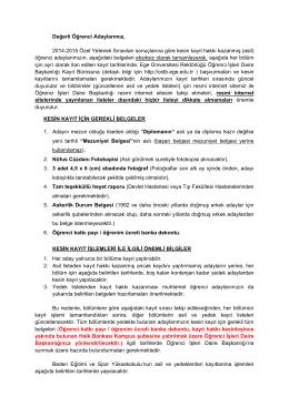 2014-2015 BESYO kayit takvimi - Öğrenci İşleri Daire Başkanlığı