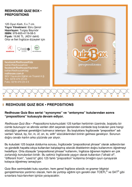 redhouse quız box • preposıtıons