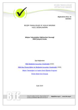 Bilgilendirme Notu - Bilişim Teknolojileri Eğitimcileri Derneği