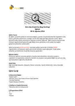 Zero-day Araştırma (Bug Hunting) Eğitimi 30-31