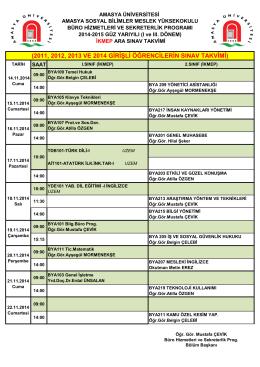 2011, 2012, 2013 ve 2014 girişli öğrencilerin sınav takvimi