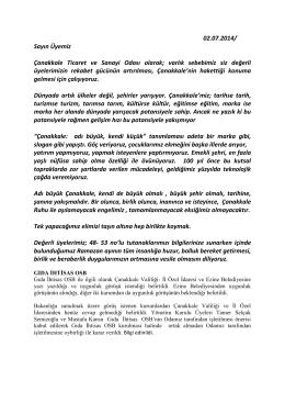 8. temmuz 2014 bilgilendirme - Çanakkale Ticaret ve Sanayi Odası
