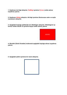 1- Sayfanıza üst bilgi ekleyiniz. ÜstBilgi içerisine Kırmızı