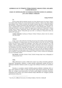 Azerbaycan Ve Türkiye Türkçesinde Yabancı Özel