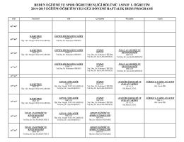 beden eğitimi ve spor öğretmenliği bölümü 1.sınıf ι. öğretim 2014