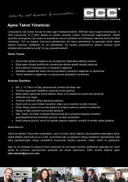 Ajans Takım Yöneticisi - Competence Call Center