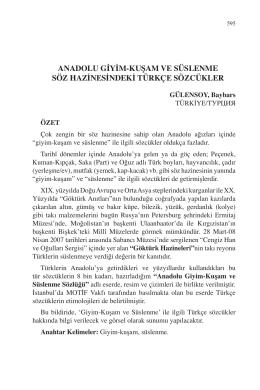 anadolu giyim-kuşam ve süslenme söz hazinesindeki türkçe