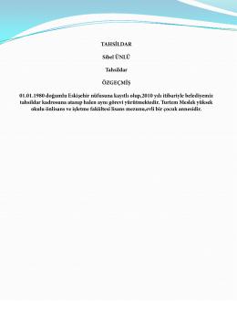 TAHSİLDAR Sibel ÜNLÜ Tahsildar ÖZGEÇMİŞ 01.01.1980