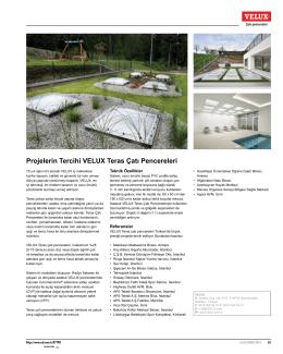 Projelerin Tercihi VELUX Teras Çatı Pencereleri