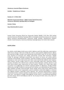 Identities 2014 Bildiri Çağrısı PDF