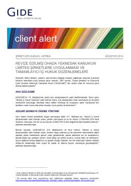 Download Afrika Client Alert | Sirketler Hukuku | Ağustos 2014