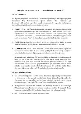 DEĞİŞİM PROGRAMLARI MAZERETLİ FİNAL PROSEDÜRÜ A