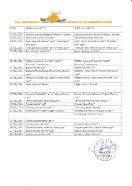 kasım ayı beslenme listesi