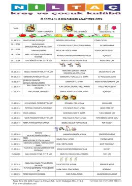 01.12.2014–31.12.2014 tarihleri arası yemek listesi