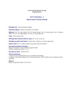 Türk Fizyolojik Bilimler Derneği Fizyoloji Okulu 2014 Yılı
