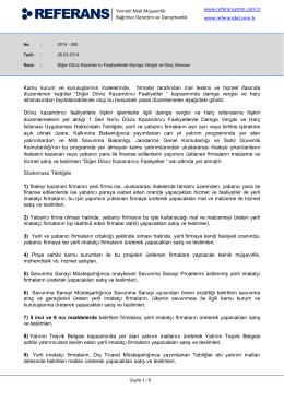 2014-005 Diğer Döviz Kazandırıcı Faaliyetlerde Damga Vergisi ve