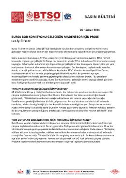 26.06.2014 Bor Komisyonu Proje Geliştiriyor
