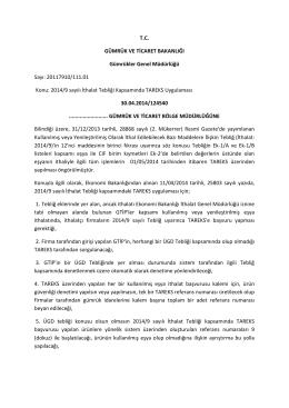 Gümrükler Genel Müdürlüğü / 2014/9 sayılı İthalat Tebliği