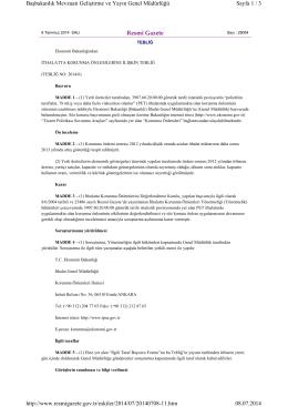 İthalatta Korunma Önlemlerine İlişkin Tebliğ (No: 2014/6)
