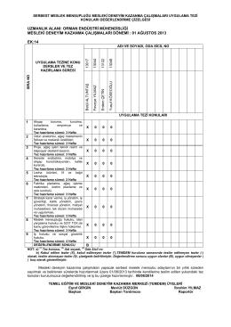 01/08/2013 tarihinde Orman Endüstri Mühendislerince teslim alınan